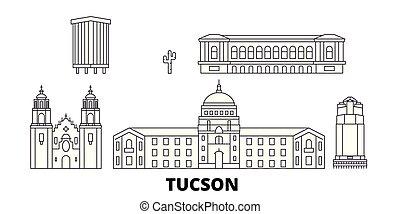 United States, Tucson line travel skyline set. United States, Tucson outline city vector illustration, symbol, travel sights, landmarks.