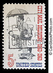 United States used postage stamp showing city mail delivery postman
