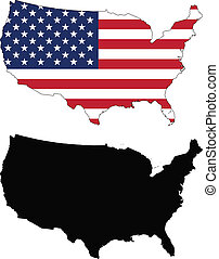 united states - vector map and flag of United States with...