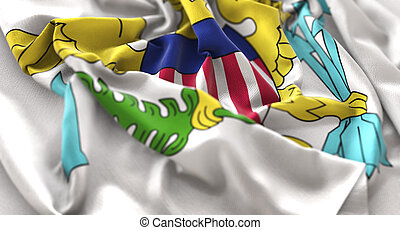 United States Virgin Islands Flag Ruffled Beautifully Waving Macro Close-Up Shot