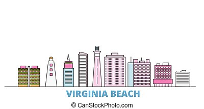 United States, Virginia Beach line cityscape, flat vector. Travel city landmark, oultine illustration, line world icons