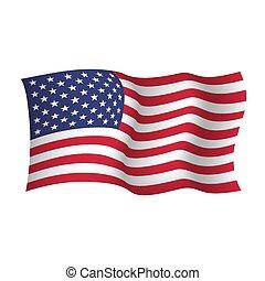 United States waving flag. Vector illustration of waving flag of USA
