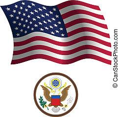 united states wavy flag and coat