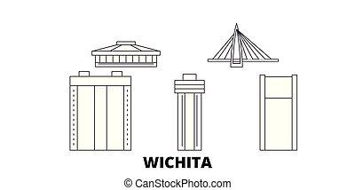 United States, Wichita line travel skyline set. United States, Wichita outline city vector illustration, symbol, travel sights, landmarks.