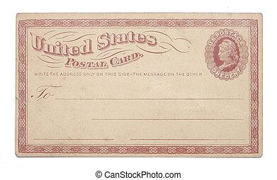 unito, cartolina, vendemmia, centesimo, stati, una volta