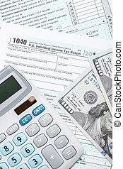 unito, colpo, forma, tassa, calcolatore, -, su, ci, stati, 1040, studio, chiudere, america, dollari