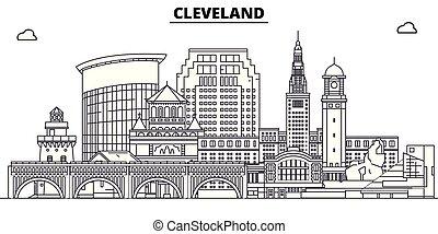 unito, contorno, stati, viaggiare, orizzonte, vettore, cleveland, illustration.