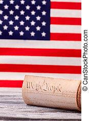 unito, costituzione, stati uniti, stati, fondo., bandiera