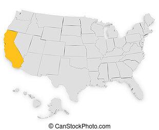 unito, evidenziando, render, stati, california, 3d