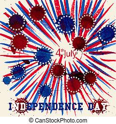 unito, flag., stati uniti., states., cartolina auguri, giorno, indipendenza