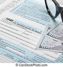 unito, forma, tassa, stati, 1040, america, occhiali