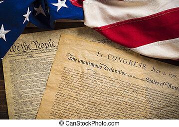 unito, founding, vendemmia, americano dichiara, bandiera, documenti