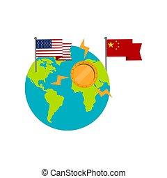unito, globo, stati, bandiere, terra, porcellana
