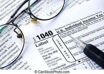 unito, lavorativo, tassa, stati, 1040, reddito