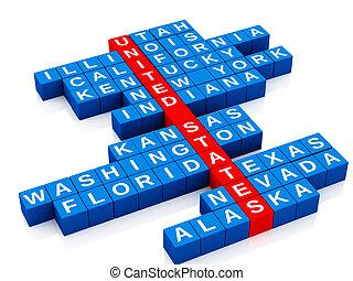 unito, lettere, paese, concept., stati, cruciverba, 3d
