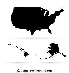 unito, mappa, america, stati
