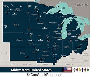 unito, midwestern, stati