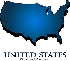 unito, paese, map., illustrazione, stati, vettore, 3d