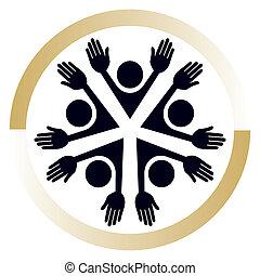 unito, persone, design.