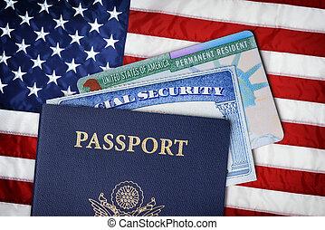 unito, residente, flag., sopra, immigrazione, stati, americano, concetto, scheda previdenza sociale, passaporto