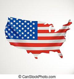 unito, stati uniti, forma, nazionale, map., bandiera, stati, america., concept.