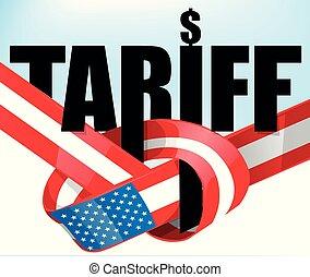 unito, tariffs, trafficare, bandiera, .protectionist, stati