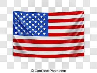 unito, usa., nazionale, america., stati, bandiera, appendere, concept.