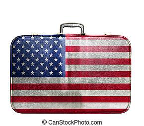 unito, vendemmia, viaggiare, stati, borsa, bandiera, america