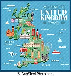 unito, viaggiare, regno, mappa