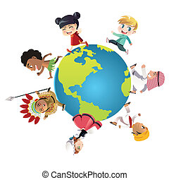 A vector illustration of kids in different nationalities dressed in their traditional clothes running around the world, can be used for unity or diversity concept