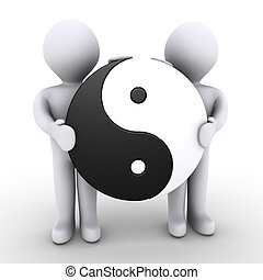 Unity between two people - Two 3d people are holding a yin...