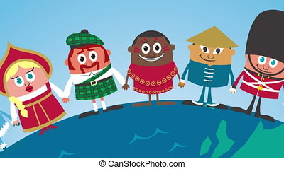 Unity - Cartoon people in national costumes from around the...