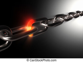 Unity concept - Taut metal chain with one fiery glowing ...