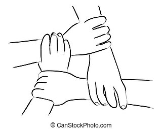 Unity Hands - Line art of four human hands holding each...