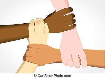 Unity in Diversity - Stock illustration of people holding...