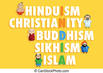 Unity in Diversity - illustration of Indian people of...