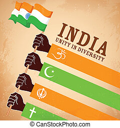 Unity in Diversity - illustration of hands of different...