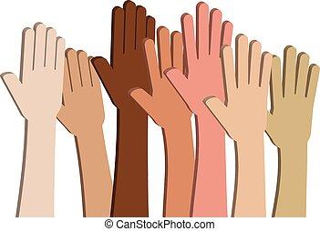 Unity in Diversity (Vector) - Hands of Different Ethnic...