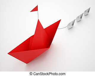 Unity is strength. Small paper boats that tow a bigger ship. Concept of teamwork and alliance. 3D Rendering