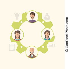 Unity of business people leading to success - Illustration...