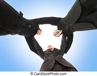 Unity of business people over blue  background