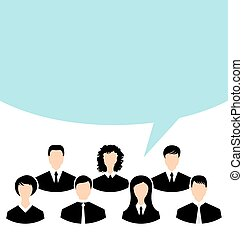 Unity of business people team with speech bubble