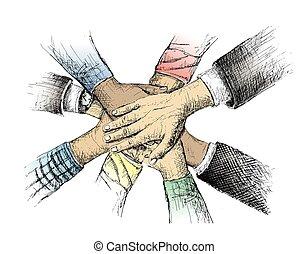 Unity of hands sketch vector illustration