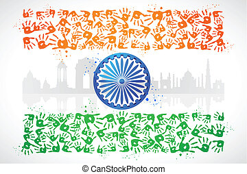 Unity of India - illustration of hand print of Indian...