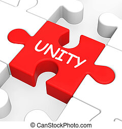 Unity Puzzle Shows Team Teamwork Or Collaboration - Unity...