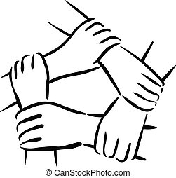 Unity team building symbol of people hands holding each other
