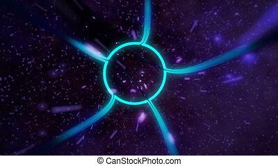 univers, cg, voyage, par, animation, boucle