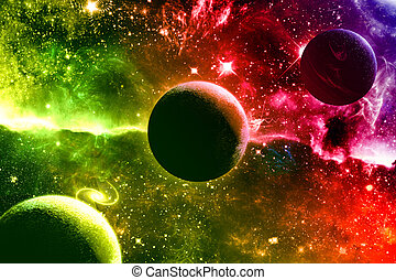 univers, galaxie, nébuleuse, planètes, étoiles