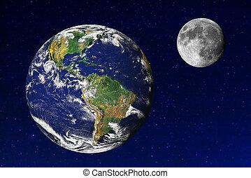 univers, la terre, lune