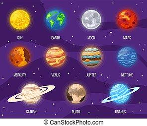 univers, planètes, système, lune, space., vecteur, design., n'importe quel, coloré, illustration, ensemble, planets., soleil, dessin animé, la terre, solaire, étoiles